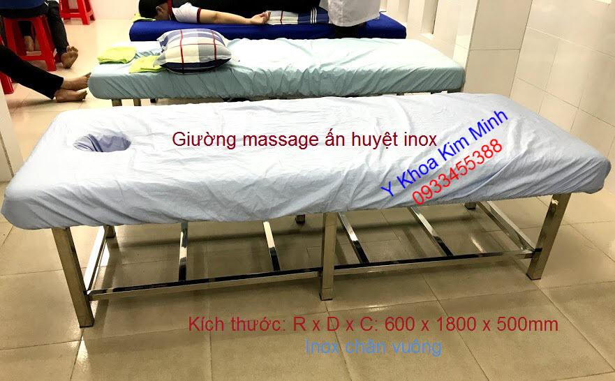 Giường ấn huyệt massage châm cứu inox