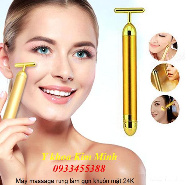 Máy massage rung làm thon gọn mặt vàng 24K