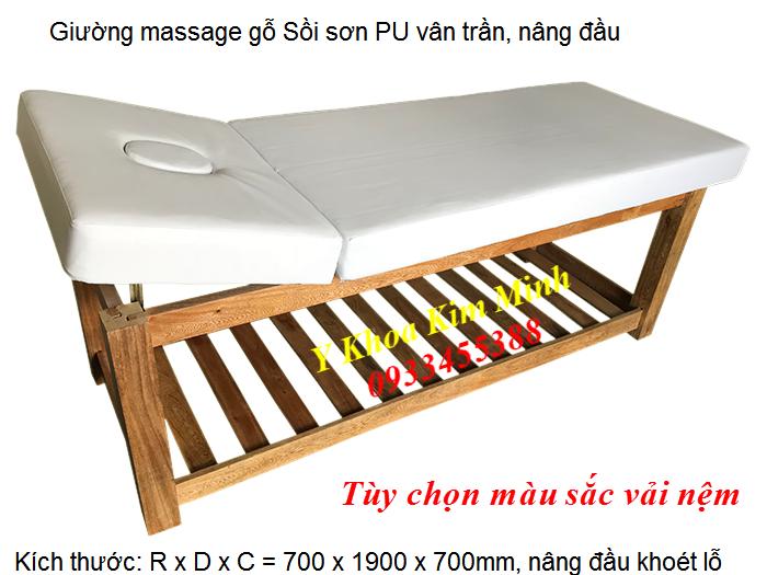 Giường gỗ sồi massage nâng đầu GS-05